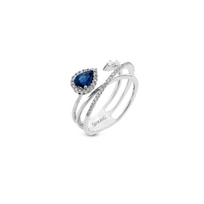 Simon G Ring with Diamonds and Blue Sapphire