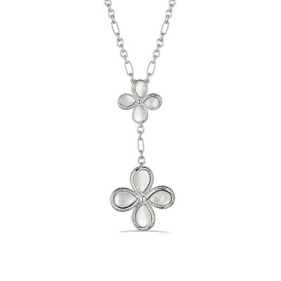 Judith Ripka Sterling Silver Jardin Floral Drop Necklace With Mother Of Pearl