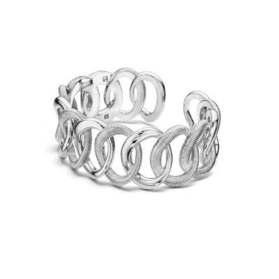 Judith Ripka Sterling Silver Eternity Interlocking Link Cuff Bracelet