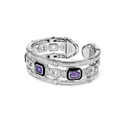Judith Ripka Sterling Silver Adrienne Cuff With Enamel,Amethyst And Diamonds
