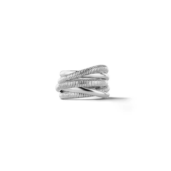 Judith Ripka Sterling Silver Eternity Five Band Highway Ring