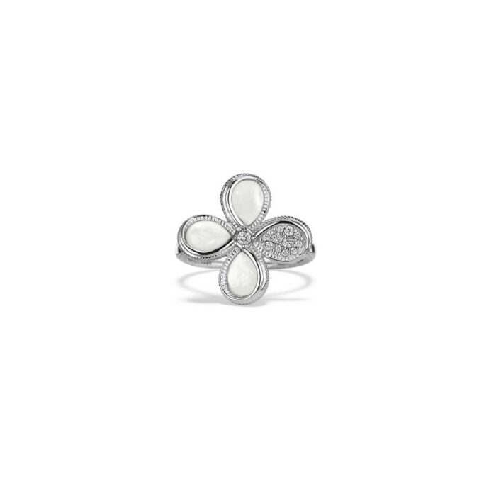 Judith Ripka Sterling Silver Jardin Flower Ring With Mother Of Pearl And Diamonds