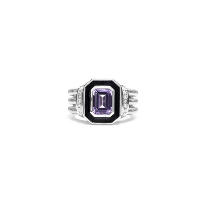 Judith Ripka Sterling Silver Adrienne Ring With Enamel, Amethyst And Diamonds