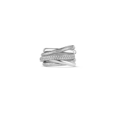 Judith Ripka Sterling Silver Eternity Five Band Highway Ring With Diamonds