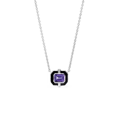 Judith Ripka Sterling Silver Adrienne Necklace With Enamel And Amethyst