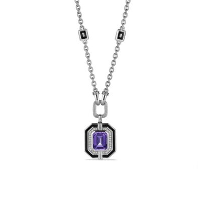 Judith Ripka Sterling Silver Adrienne Pendant Necklace With Enamel, Amethyst And Diamonds