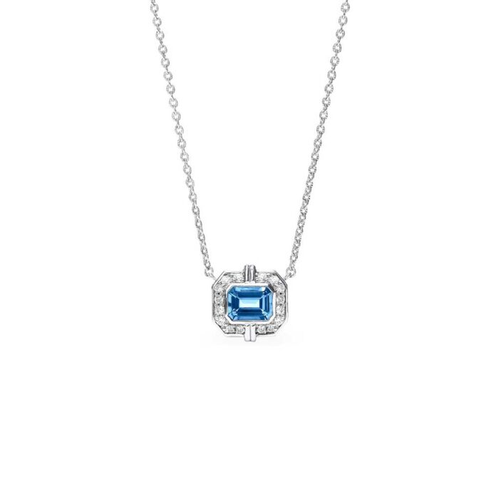 Judith Ripka Sterling Silver Adrienne Necklace With Swiss Blue Topaz And Diamonds