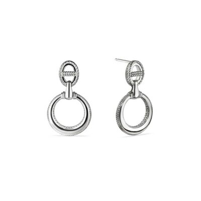 Judith Ripka Sterling Silver Vienna Door Knocker Earrings