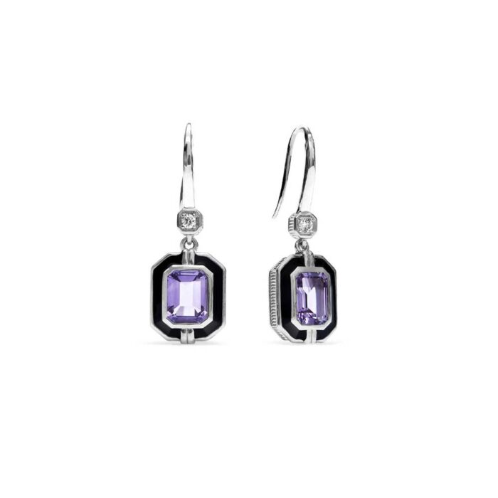 Judith Ripka Sterling Silver Adrienne Drop Earrings With Enamel, Amethyst And Diamonds