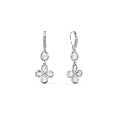 Judith Ripka Sterling Silver Jardin Petal Drop Earrings With Mother Of Pearl And Diamonds