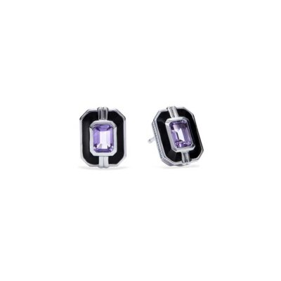 Judith Ripka Sterling Silver Adrienne Stud Earrings With Enamel And Amethyst