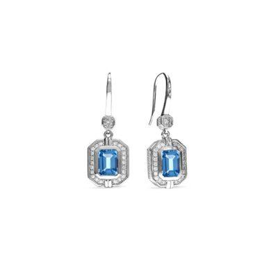 Judith Ripka Sterling Silver Adrienne Drop Earrings With Swiss Blue Topaz And Diamonds