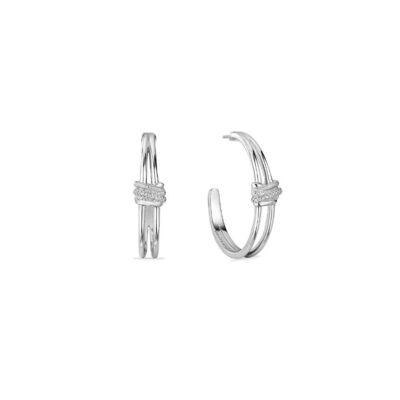 Judith Ripka Sterling Silver Eternity Highway Hoop Earrings With Diamonds