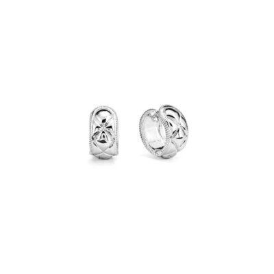 Judith Ripka Sterling Silver Max Textured Huggie Hoop Earring