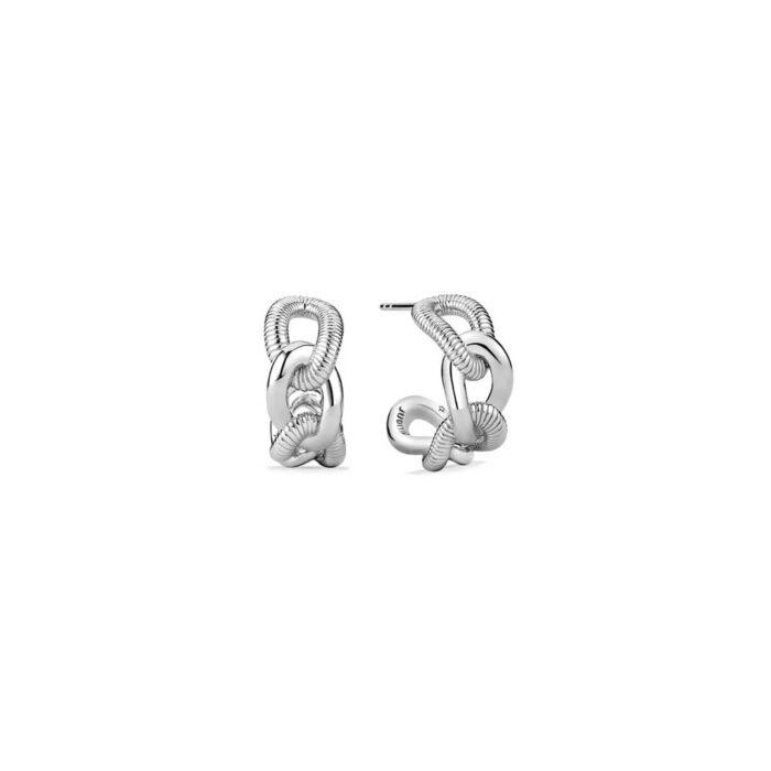 Judith Ripka Sterling Silver Eternity Open Link Hoop Earrings