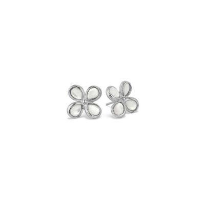 Judith Ripka Sterling Silver Jardin Stud Earrings With Mother Of Pearl