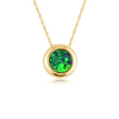 14KY Australian Opal Doublet with Diamond