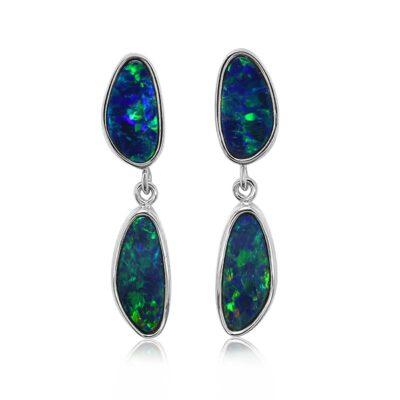 14KY Gold Australian Opal Doublet Earring