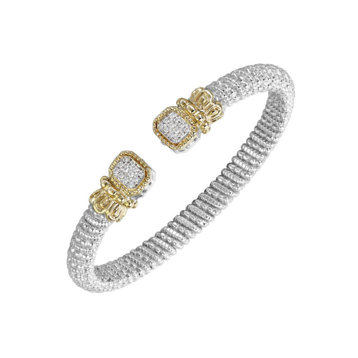 Sterling Silver with 14KY Diamond 0.18ctw 6mm Bangle by Vahan