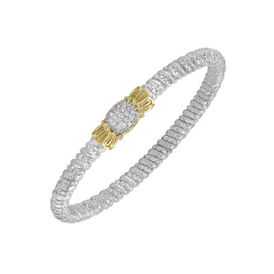Sterling Silver with 14KY Diamond 0.19ctw 4mm Bangle by Vahan