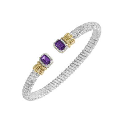 Sterling Silver with 14KY Diamond 0.16ctw with Amethyst 4mm Bangle by Vahan