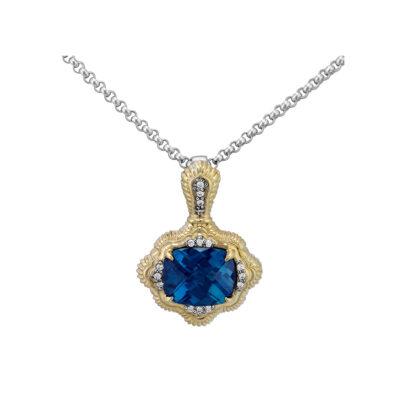 London Blue Topaz Vahan Necklace with Diamonds