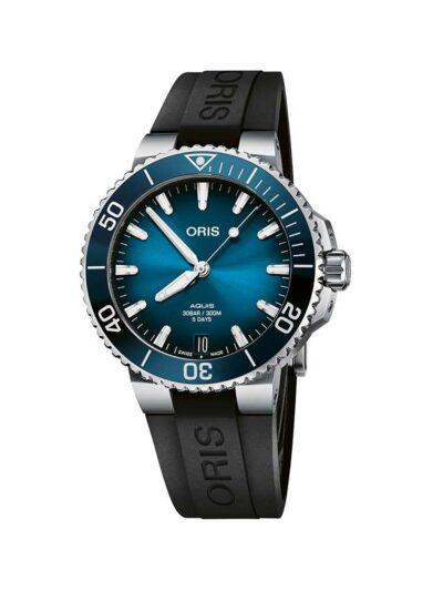 ORIS Aquis Date Calibre 400 41.5 Blue on Rubber Strap