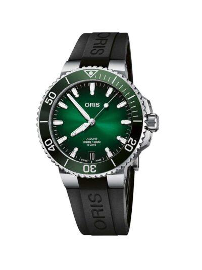 ORIS Aquis Date Calibre 400 41.5 Green on Rubber Strap