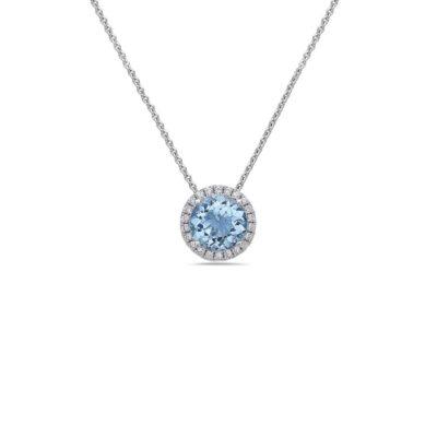 Aquamarine Pastel Diamond Station Necklace