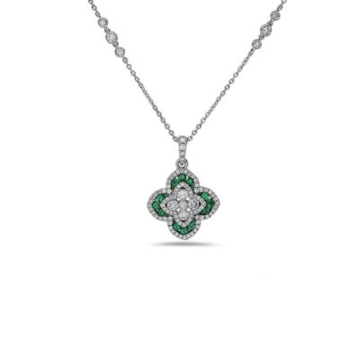 Emerald QuatreFoil Diamond Necklace